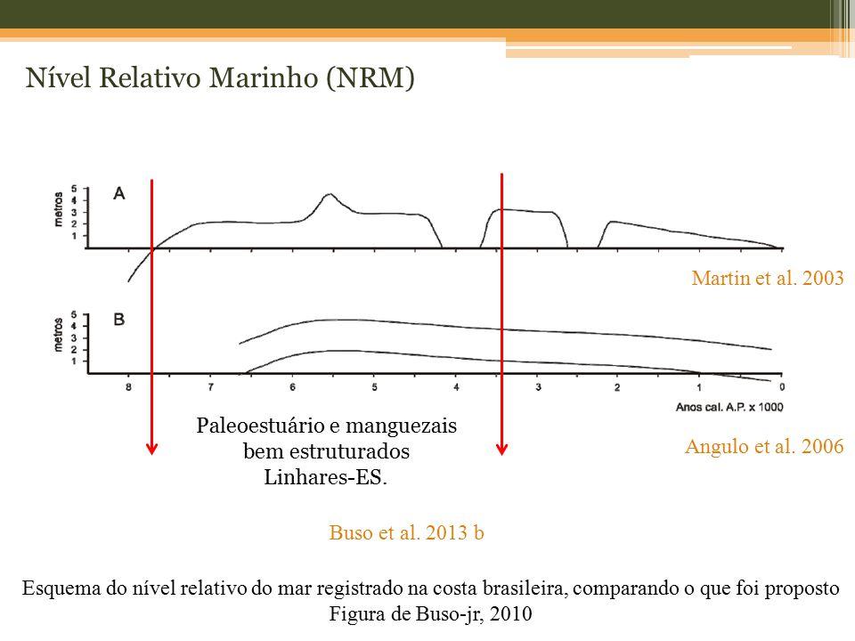 Nível Relativo Marinho (NRM) Esquema do nível relativo do mar registrado na costa brasileira, comparando o que foi proposto Figura de Buso-jr, 2010 Ma