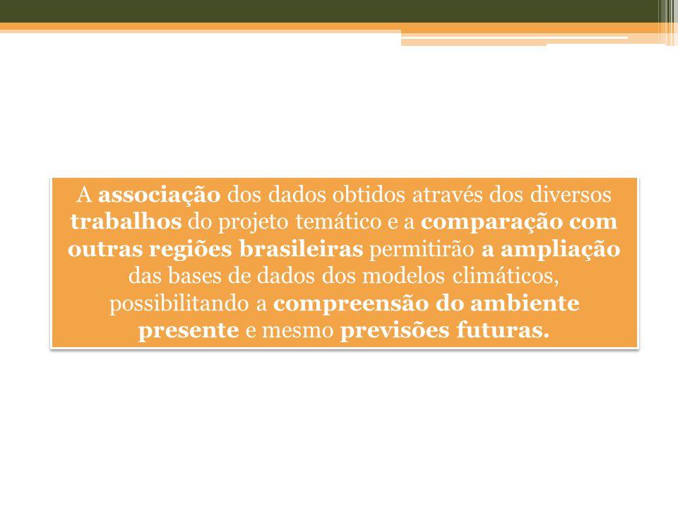 A associação dos dados obtidos através dos diversos trabalhos do projeto temático e a comparação com outras regiões brasileiras permitirão a ampliação