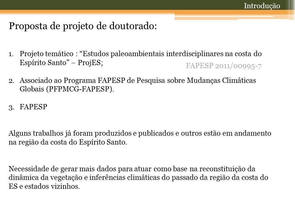 "Proposta de projeto de doutorado: 1.Projeto temático : ""Estudos paleoambientais interdisciplinares na costa do Espírito Santo"" – ProjES; 2.Associado a"