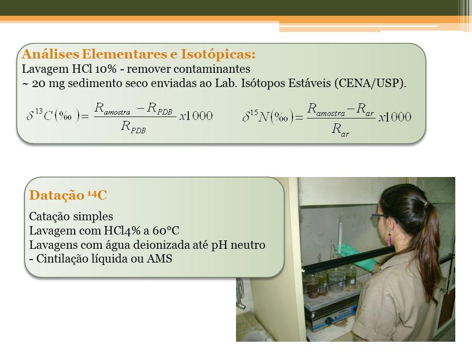 Análises Elementares e Isotópicas: Lavagem HCl 10% - remover contaminantes ~ 20 mg sedimento seco enviadas ao Lab. Isótopos Estáveis (CENA/USP). Dataç
