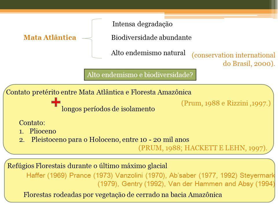 (conservation international do Brasil, 2000). Contato: 1.Plioceno 2. Pleistoceno para o Holoceno, entre 10 - 20 mil anos (PRUM, 1988; HACKETT E LEHN,