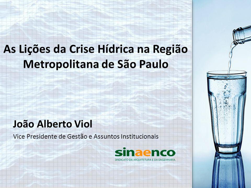 João Alberto Viol Vice Presidente de Gestão e Assuntos Institucionais As Lições da Crise Hídrica na Região Metropolitana de São Paulo