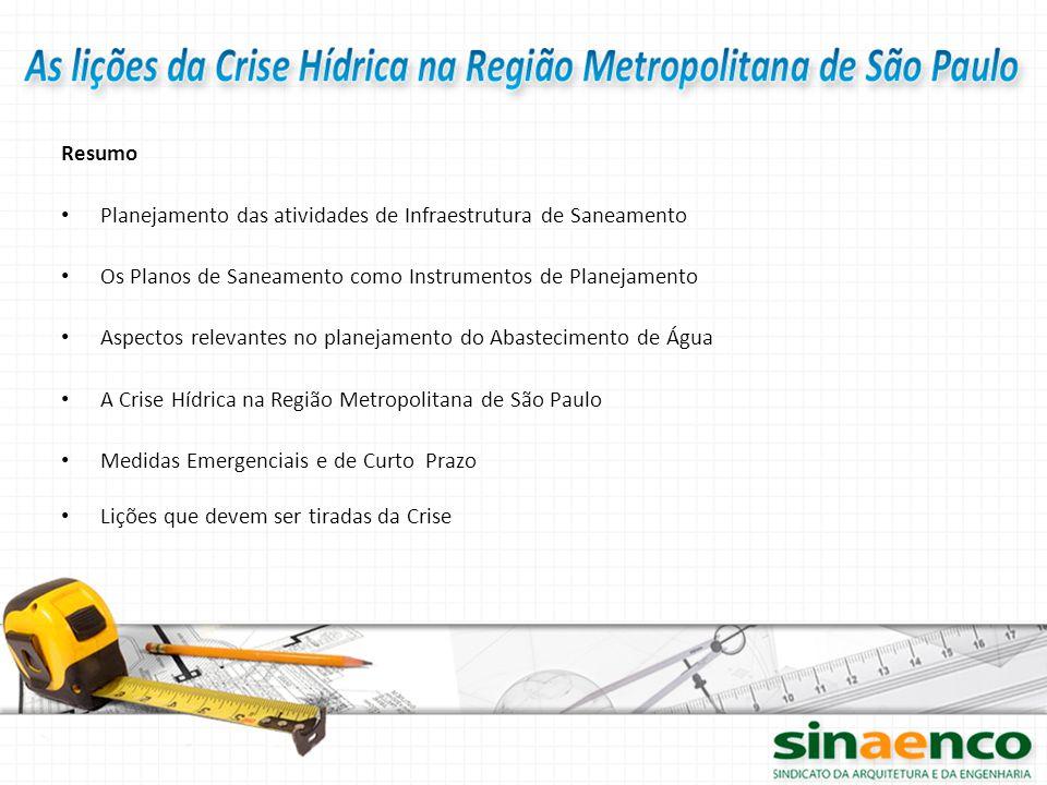 Resumo Planejamento das atividades de Infraestrutura de Saneamento Os Planos de Saneamento como Instrumentos de Planejamento Aspectos relevantes no pl
