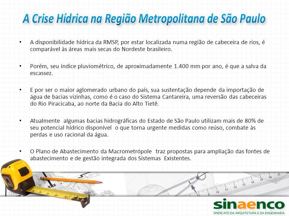 A disponibilidade hídrica da RMSP, por estar localizada numa região de cabeceira de rios, é comparável às áreas mais secas do Nordeste brasileiro. Por