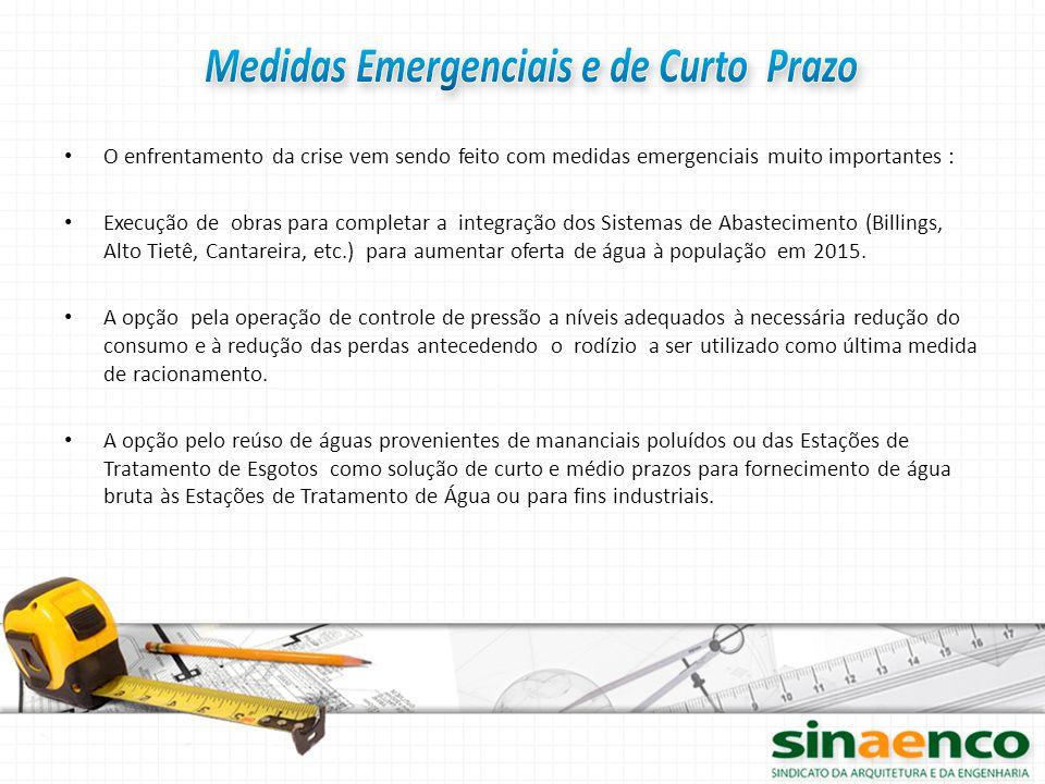 O enfrentamento da crise vem sendo feito com medidas emergenciais muito importantes : Execução de obras para completar a integração dos Sistemas de Ab