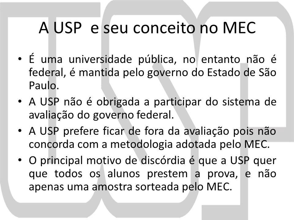 A USP e seu conceito no MEC É uma universidade pública, no entanto não é federal, é mantida pelo governo do Estado de São Paulo.