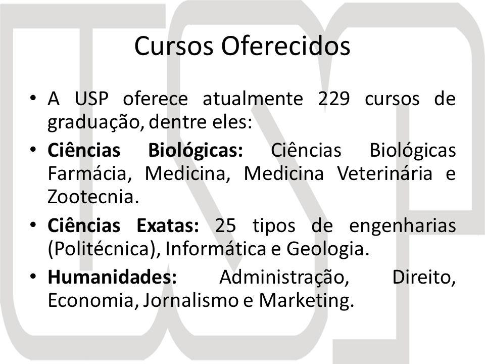 Cursos Oferecidos A USP oferece atualmente 229 cursos de graduação, dentre eles: Ciências Biológicas: Ciências Biológicas Farmácia, Medicina, Medicina Veterinária e Zootecnia.