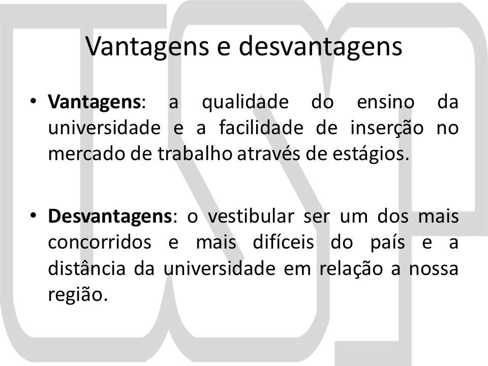 Vantagens e desvantagens Vantagens: a qualidade do ensino da universidade e a facilidade de inserção no mercado de trabalho através de estágios.