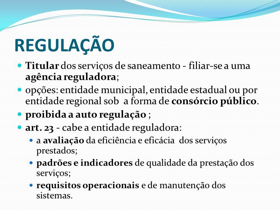 REGULAÇÃO Titular dos serviços de saneamento - filiar-se a uma agência reguladora; opções: entidade municipal, entidade estadual ou por entidade regio