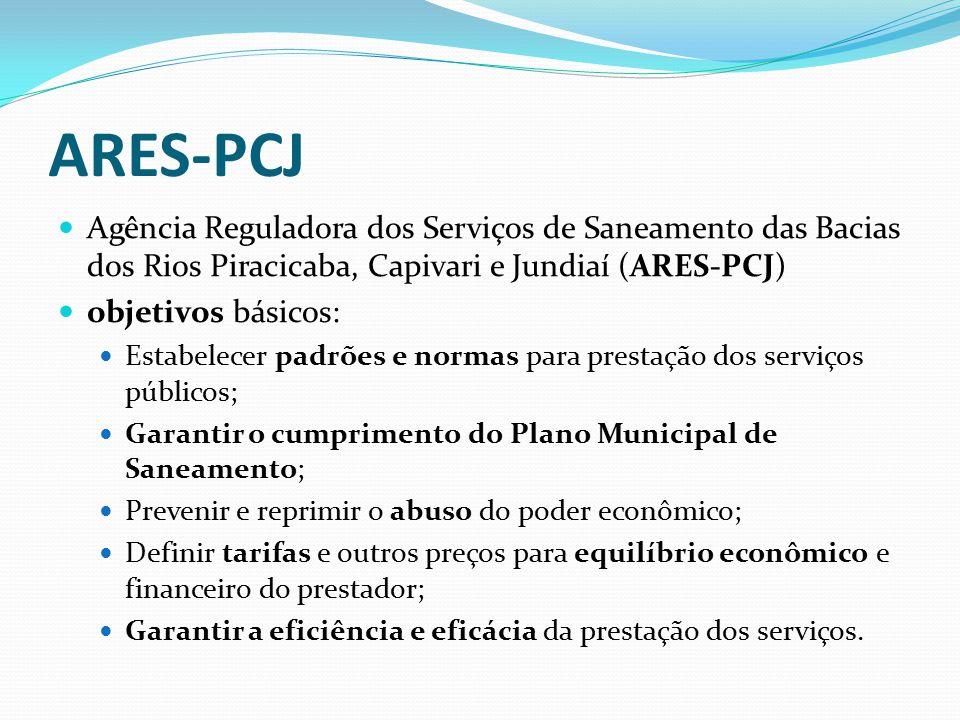 ARES-PCJ Formada por 43(trinta e oito) municípios, que totalizam uma população superior a 4 milhões de habitantes em diferentes categorias de prestação de serviços: 9 (nove) municípios operados pela prefeitura municipal; 23(doze) municípios operados através de autarquia municipal; 2 (dois) por companhias de economia mista; 1 por empresa privada e 8 (oito) municípios operados pela SABESP.