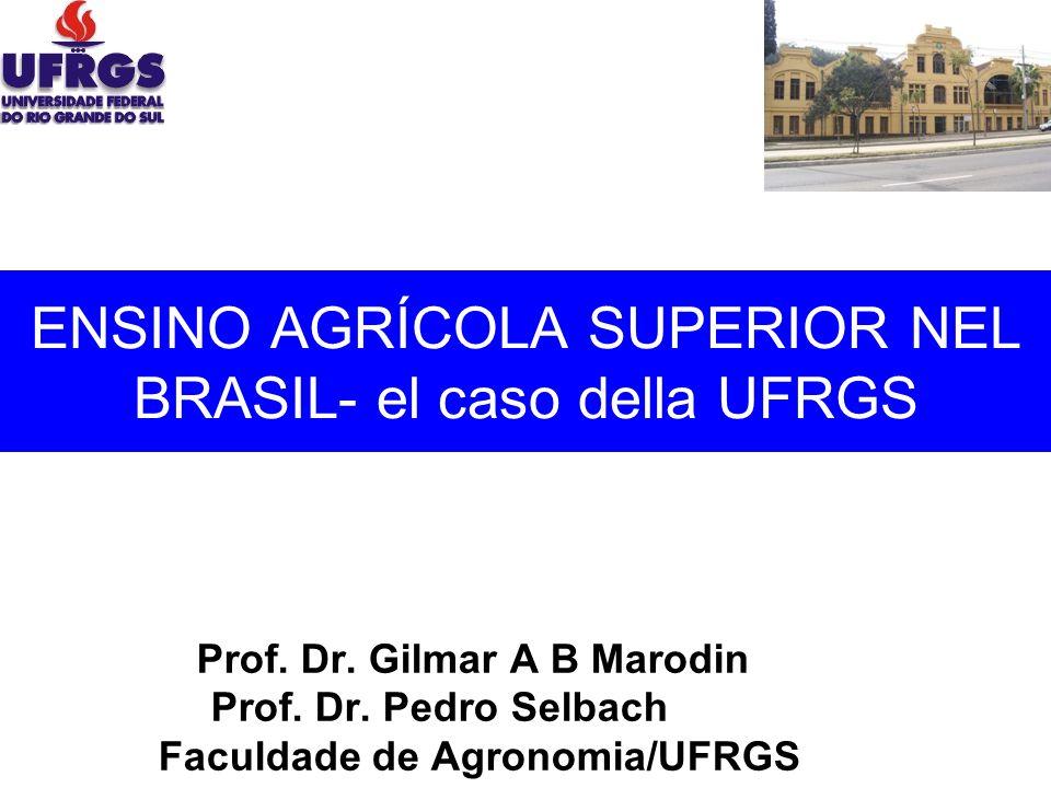 ENSINO AGRÍCOLA SUPERIOR NEL BRASIL- el caso della UFRGS Prof. Dr. Gilmar A B Marodin Prof. Dr. Pedro Selbach Faculdade de Agronomia/UFRGS