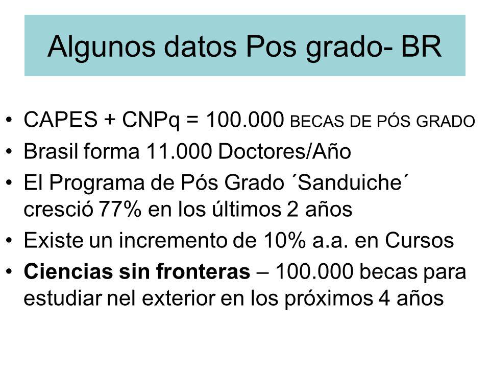Algunos datos Pos grado- BR CAPES + CNPq = 100.000 BECAS DE PÓS GRADO Brasil forma 11.000 Doctores/Año El Programa de Pós Grado ´Sanduiche´ cresció 77