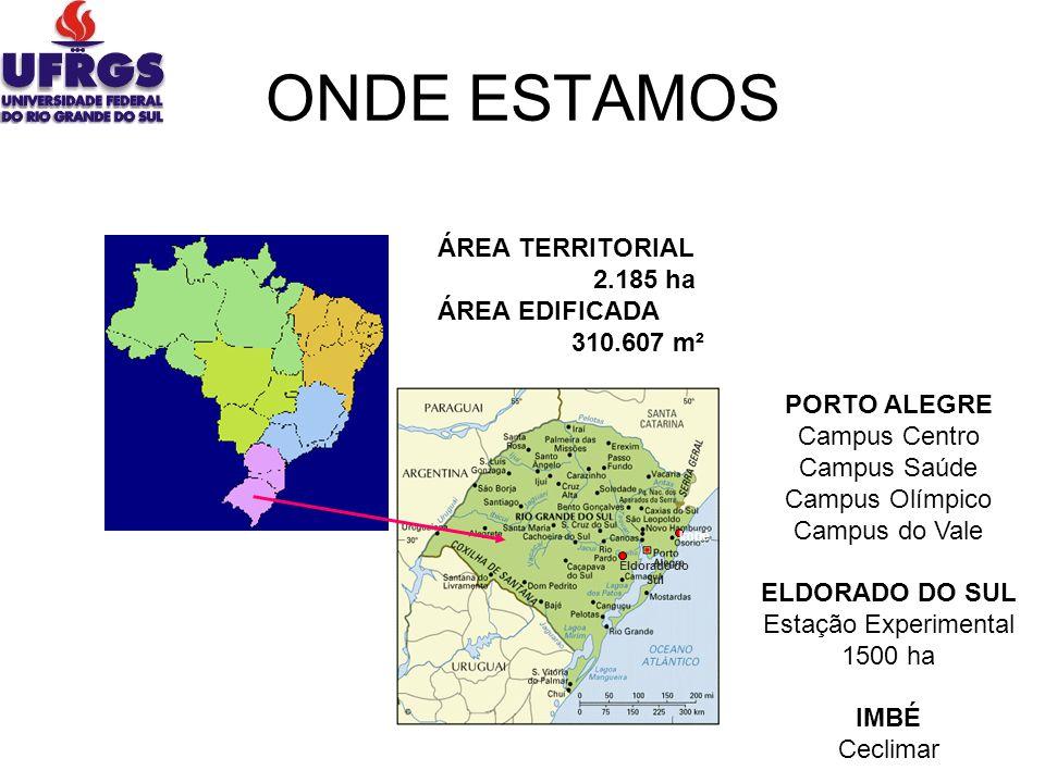 Imbé Eldorado do Sul ÁREA TERRITORIAL 2.185 ha ÁREA EDIFICADA 310.607 m² PORTO ALEGRE Campus Centro Campus Saúde Campus Olímpico Campus do Vale ELDORA