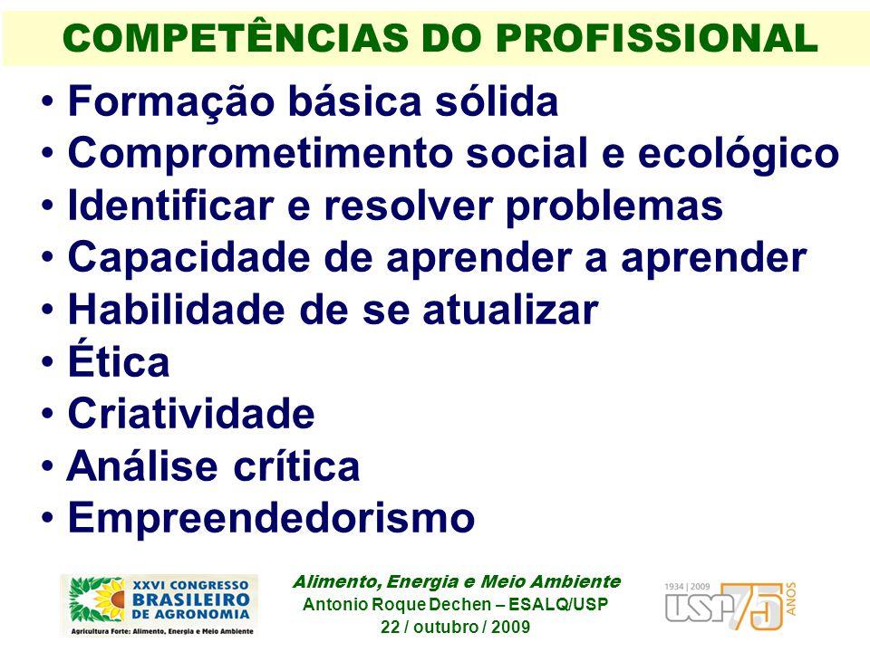 Formação básica sólida Comprometimento social e ecológico Identificar e resolver problemas Capacidade de aprender a aprender Habilidade de se atualiza