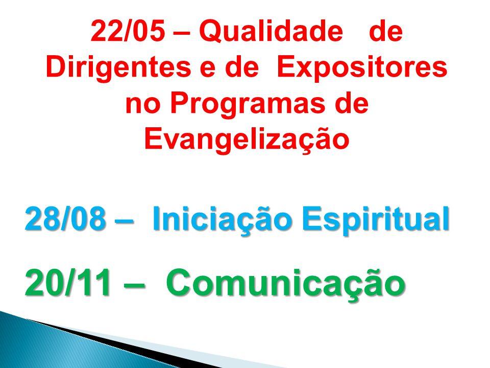 22/05 – Qualidade de Dirigentes e de Expositores no Programas de Evangelização 28/08 – Iniciação Espiritual 20/11 – Comunicação