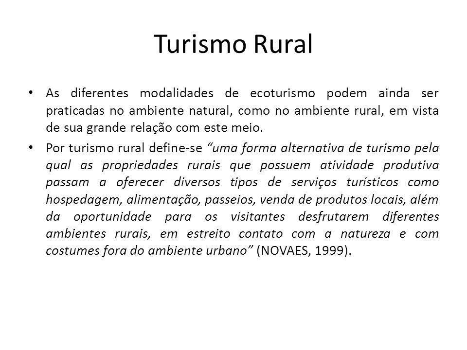 As atividades do Turismo Rural O termo Turismo no Meio Rural, engloba muitas outras oportunidades de implantação, além daquelas atividades típicas dos sítios e fazendas.