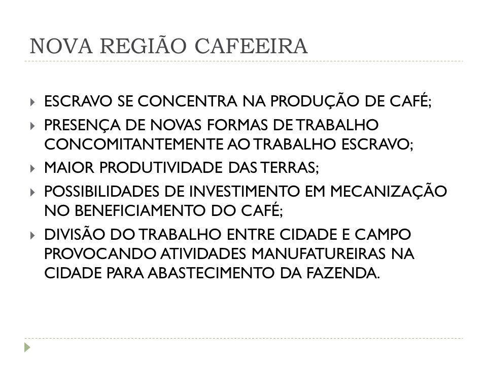 NOVA REGIÃO CAFEEIRA  ESCRAVO SE CONCENTRA NA PRODUÇÃO DE CAFÉ;  PRESENÇA DE NOVAS FORMAS DE TRABALHO CONCOMITANTEMENTE AO TRABALHO ESCRAVO;  MAIOR