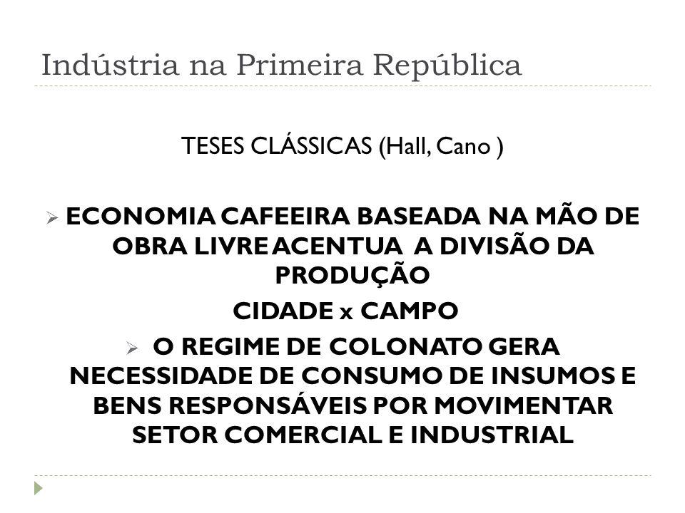 Indústria na Primeira República TESES CLÁSSICAS (Hall, Cano )  ECONOMIA CAFEEIRA BASEADA NA MÃO DE OBRA LIVRE ACENTUA A DIVISÃO DA PRODUÇÃO CIDADE x