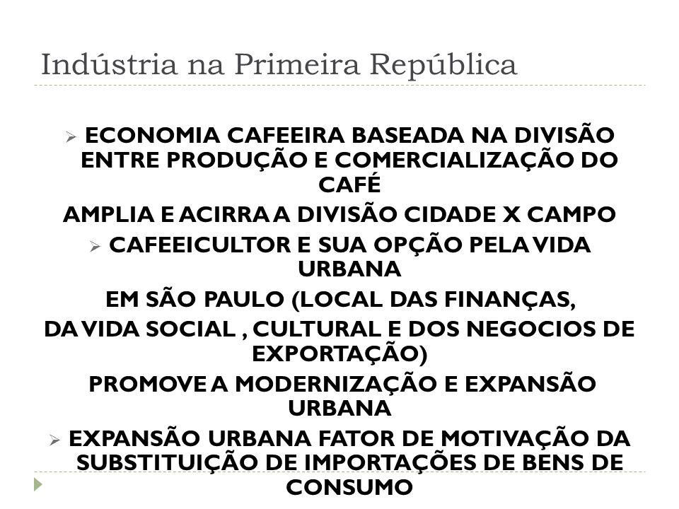 Indústria na Primeira República  ECONOMIA CAFEEIRA BASEADA NA DIVISÃO ENTRE PRODUÇÃO E COMERCIALIZAÇÃO DO CAFÉ AMPLIA E ACIRRA A DIVISÃO CIDADE X CAM