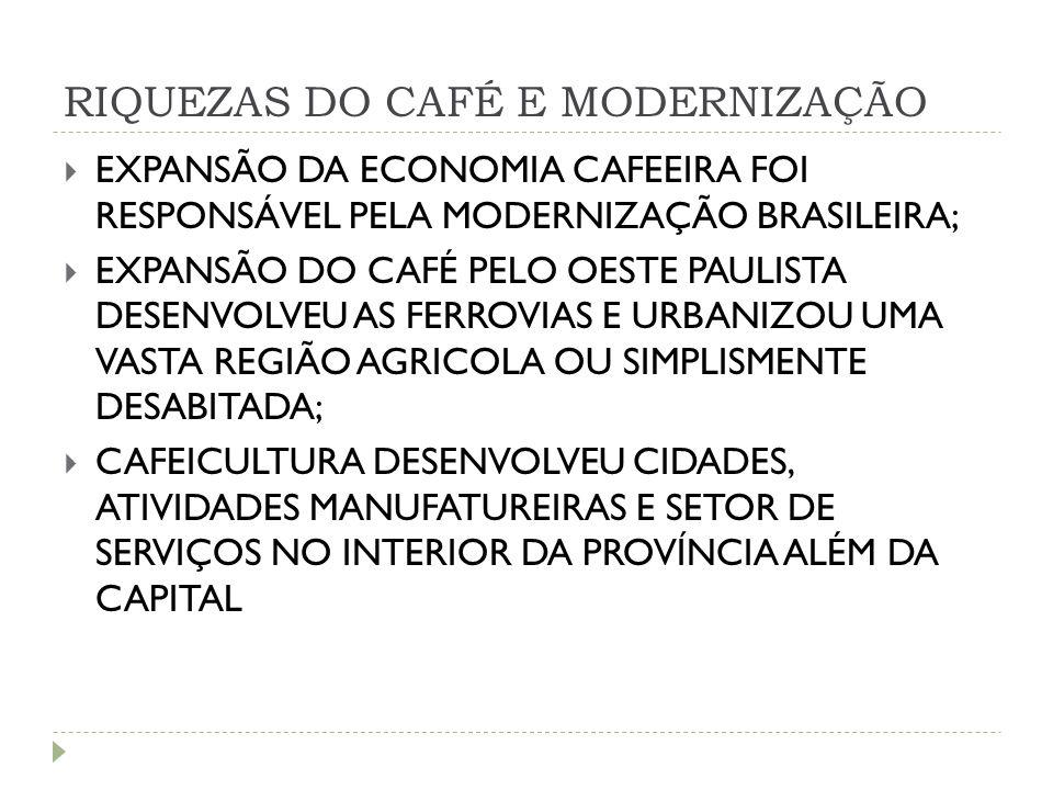 RIQUEZAS DO CAFÉ E MODERNIZAÇÃO  EXPANSÃO DA ECONOMIA CAFEEIRA FOI RESPONSÁVEL PELA MODERNIZAÇÃO BRASILEIRA;  EXPANSÃO DO CAFÉ PELO OESTE PAULISTA D