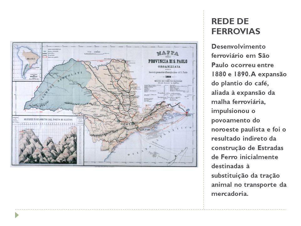 REDE DE FERROVIAS Desenvolvimento ferroviário em São Paulo ocorreu entre 1880 e 1890. A expansão do plantio do café, aliada à expansão da malha ferrov
