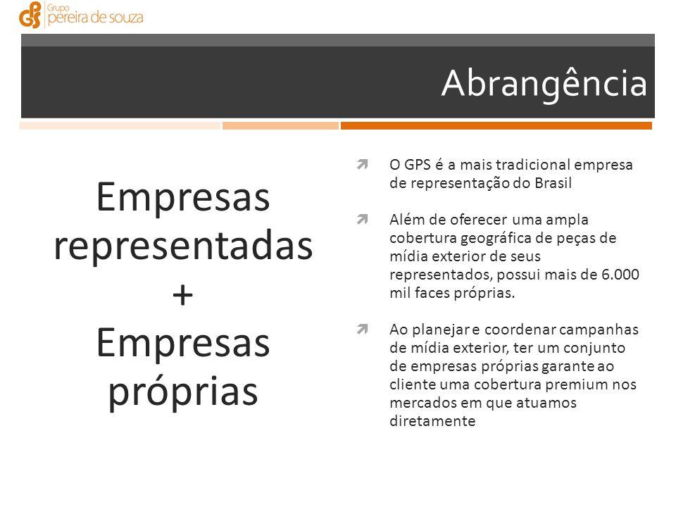 Empresas representadas + Empresas próprias  O GPS é a mais tradicional empresa de representação do Brasil  Além de oferecer uma ampla cobertura geográfica de peças de mídia exterior de seus representados, possui mais de 6.000 mil faces próprias.