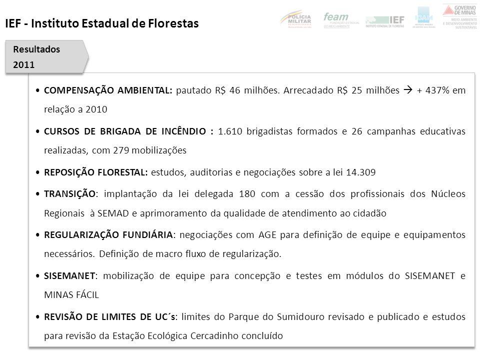 UNIDADE COLEGIADA: eleição das unidades do COPAM para o triênio 2012 – 2015 DELIBERAÇÃO DE PEDIDOS DE LICENCIAMENTOS AMBIENTAIS: 95 dias  17% abaixo meta (115 dias) PROTEÇÃO E PRESERVAÇÃO DO MEIO AMBIENTE: regulamentação da lei complementar 140/2011 EDUCAÇÃO AMBIENTAL: integração física das equipes de educação ambiental possibilitando alinhamento estratégico LICENCIAMENTO AMBIENTAL : 76 grandes projetos(Mineradoras do Norte: Vale, MIBA, SAM, Brasilândia Agro Industrial (FUCHS), Apolo, Votorantim, Anglo Ferrous, AHE Pompéu, PCH Fumaça, Magnesita, AVG Mineração, Holcim, Sada, Vale fertilizantes, Camargo Correa, CODEVASF, DENOCS) CONSELHOS: revisão dos conselhos existentes e Seminário com os Conselheiros do Estado Planejamento 2012 SEMAD - Subsecretaria de Gestão e Regularização Ambiental Integrada
