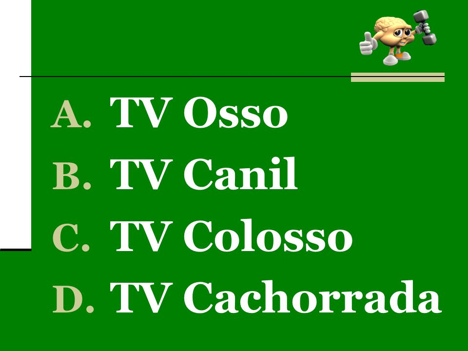 A. TV Osso B. TV Canil C. TV Colosso D. TV Cachorrada