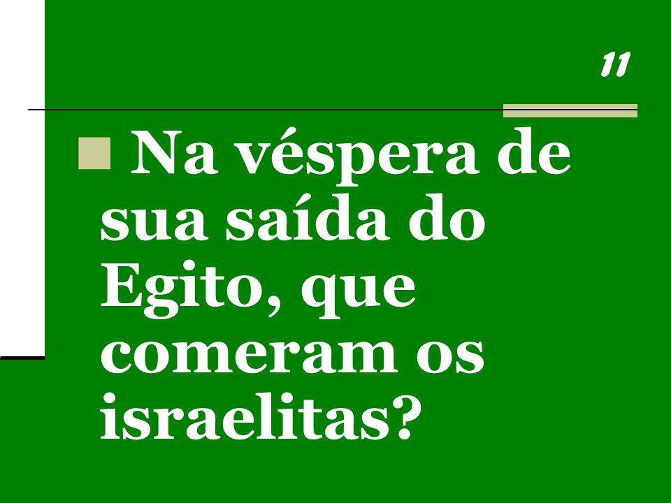 11 Na véspera de sua saída do Egito, que comeram os israelitas?