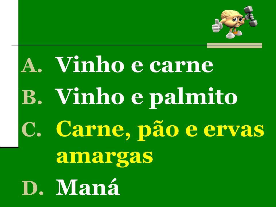 A. Vinho e carne B. Vinho e palmito C. Carne, pão e ervas amargas D. Maná