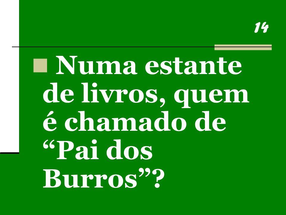14 Numa estante de livros, quem é chamado de Pai dos Burros ?