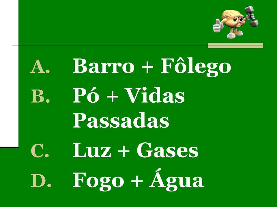 A. Barro + Fôlego B. Pó + Vidas Passadas C. Luz + Gases D. Fogo + Água
