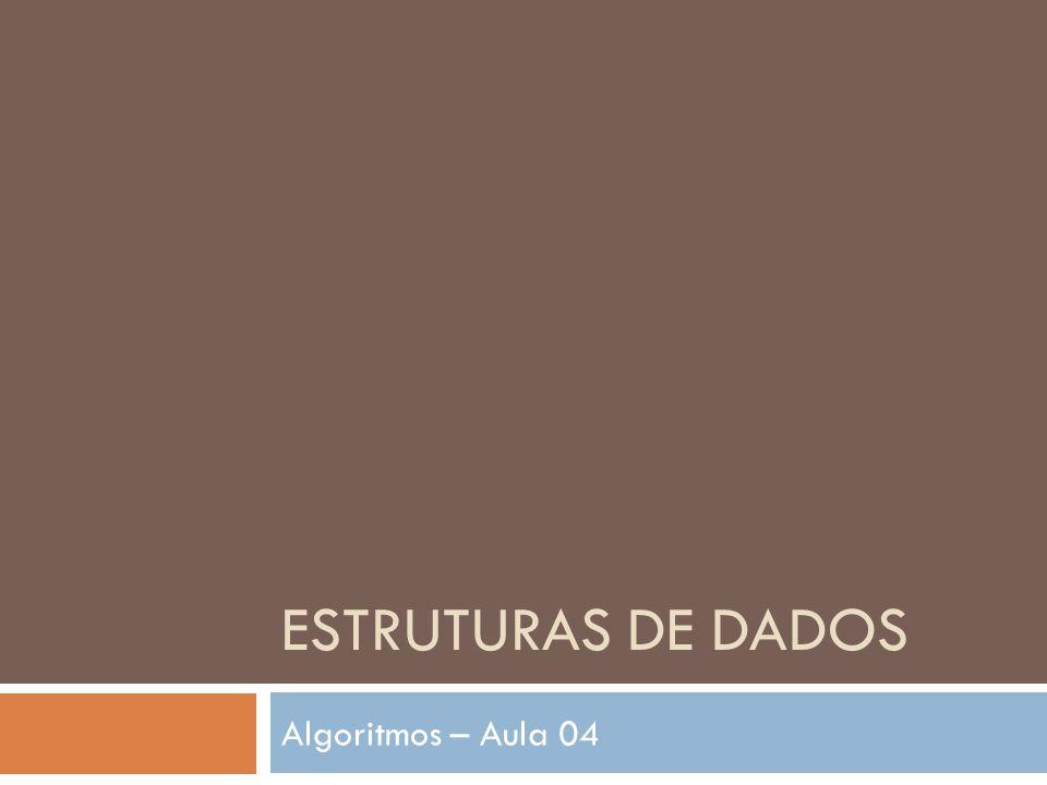ESTRUTURAS DE DADOS Algoritmos – Aula 04
