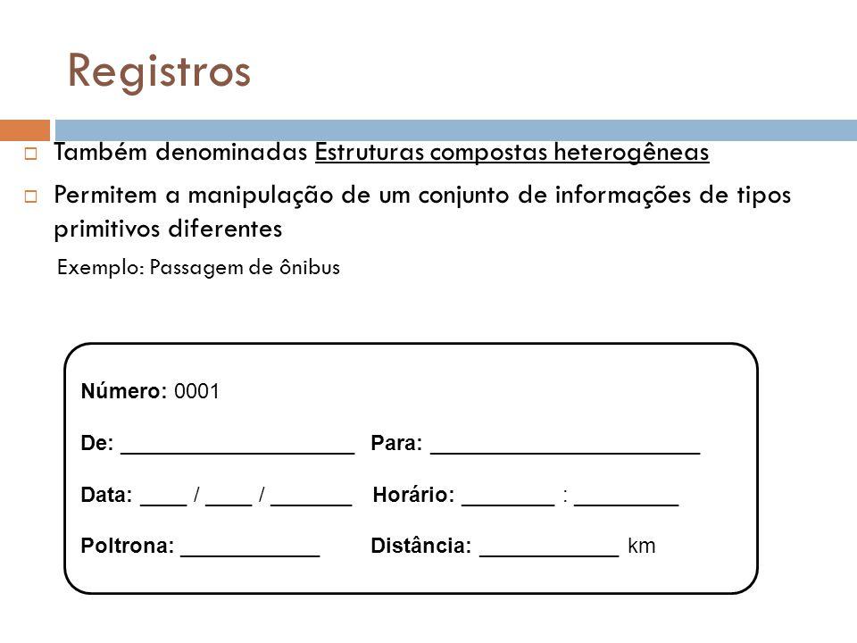Registros  Também denominadas Estruturas compostas heterogêneas  Permitem a manipulação de um conjunto de informações de tipos primitivos diferentes