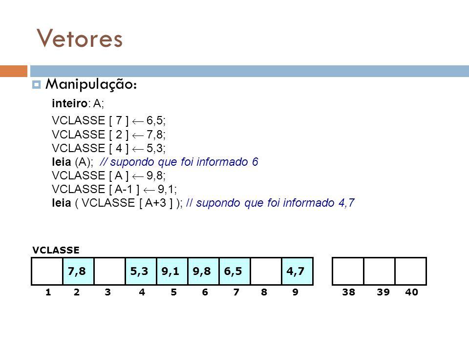 Vetores  Manipulação: 1 2 3 4 5 6 7 8 9 38 39 40 inteiro: A; VCLASSE [ 7 ]  6,5; 6,57,85,3 VCLASSE VCLASSE [ 2 ]  7,8; VCLASSE [ 4 ]  5,3; leia (A