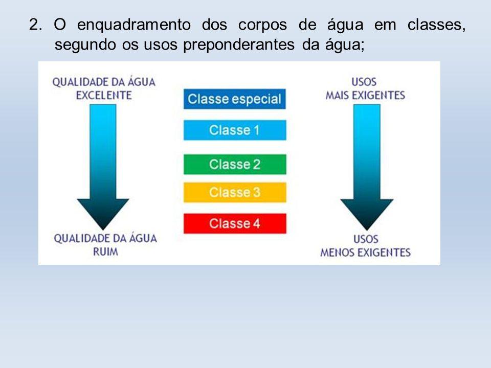 2. O enquadramento dos corpos de água em classes, segundo os usos preponderantes da água;