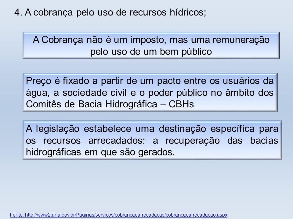 Fonte: http://www2.ana.gov.br/Paginas/servicos/cobrancaearrecadacao/cobrancaearrecadacao.aspx A legislação estabelece uma destinação específica para o