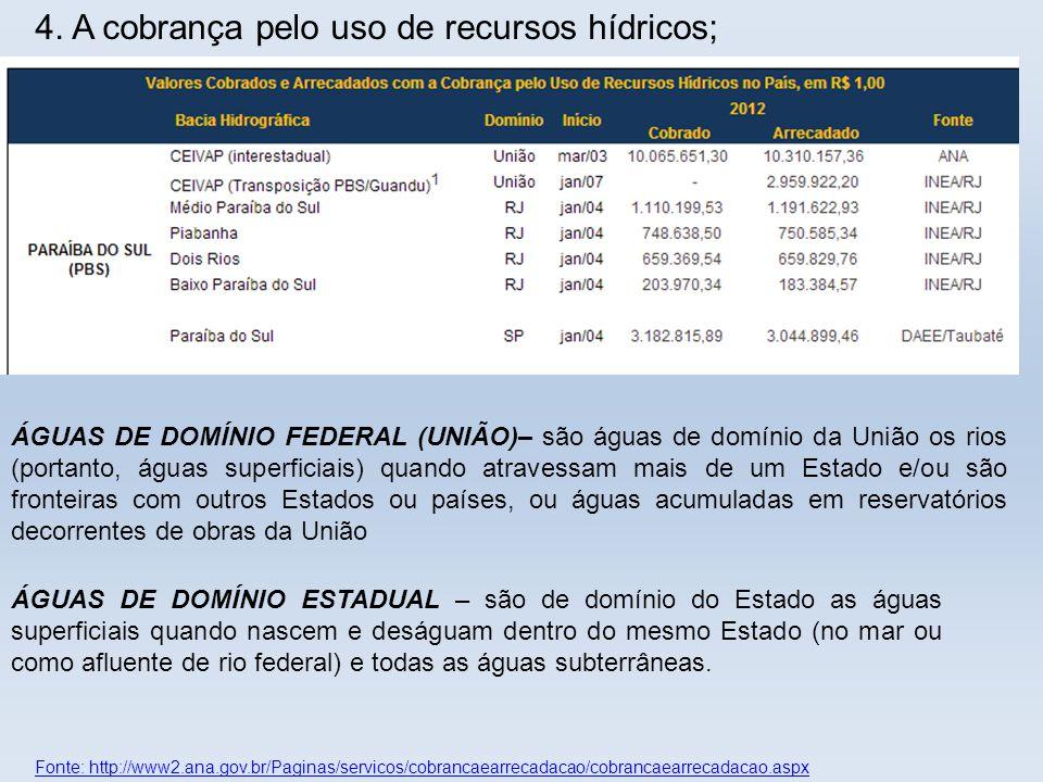 Fonte: http://www2.ana.gov.br/Paginas/servicos/cobrancaearrecadacao/cobrancaearrecadacao.aspx 4. A cobrança pelo uso de recursos hídricos; ÁGUAS DE DO