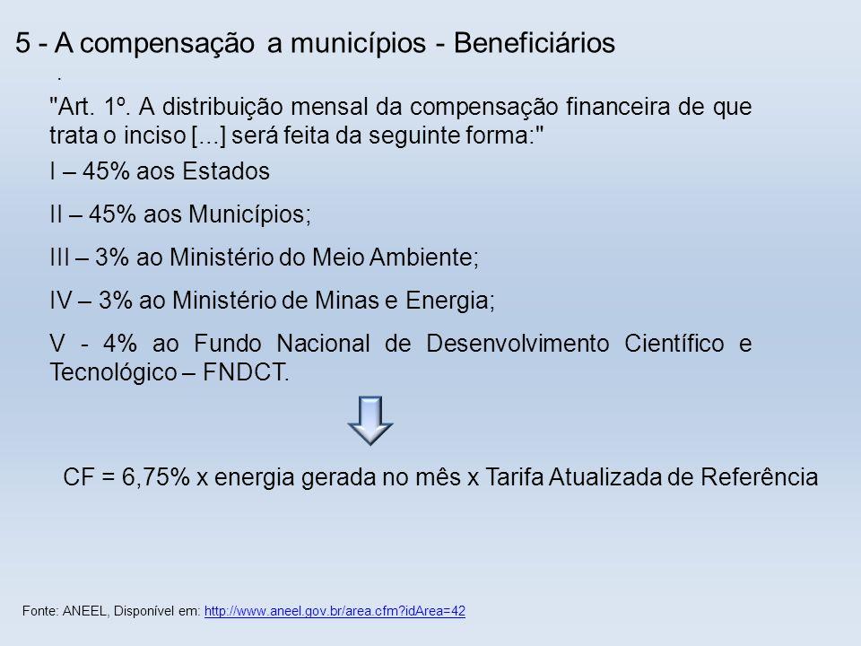 5 - A compensação a municípios - Beneficiários.