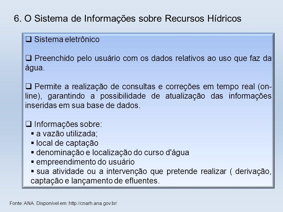 6. O Sistema de Informações sobre Recursos Hídricos  Sistema eletrônico  Preenchido pelo usuário com os dados relativos ao uso que faz da água.  Pe