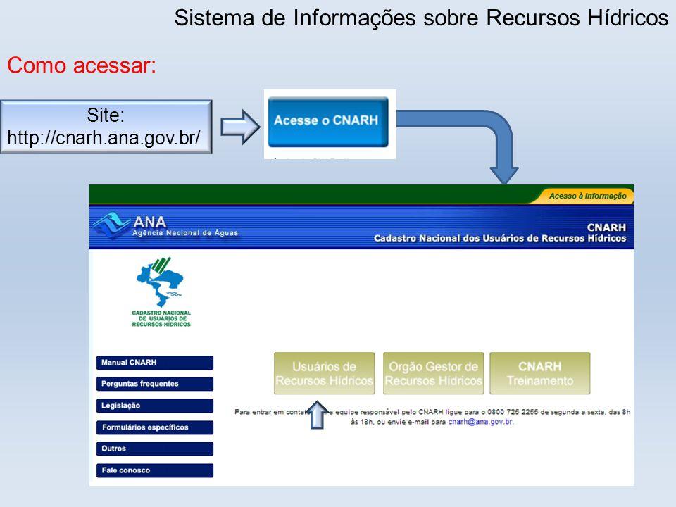 Sistema de Informações sobre Recursos Hídricos Como acessar: Site: http://cnarh.ana.gov.br/