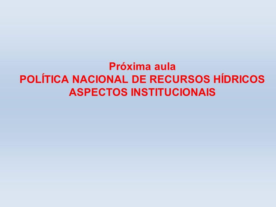 Próxima aula POLÍTICA NACIONAL DE RECURSOS HÍDRICOS ASPECTOS INSTITUCIONAIS