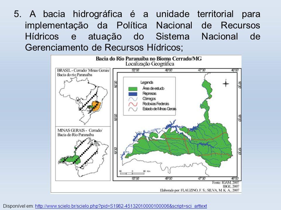 . 5. A bacia hidrográfica é a unidade territorial para implementação da Política Nacional de Recursos Hídricos e atuação do Sistema Nacional de Gerenc