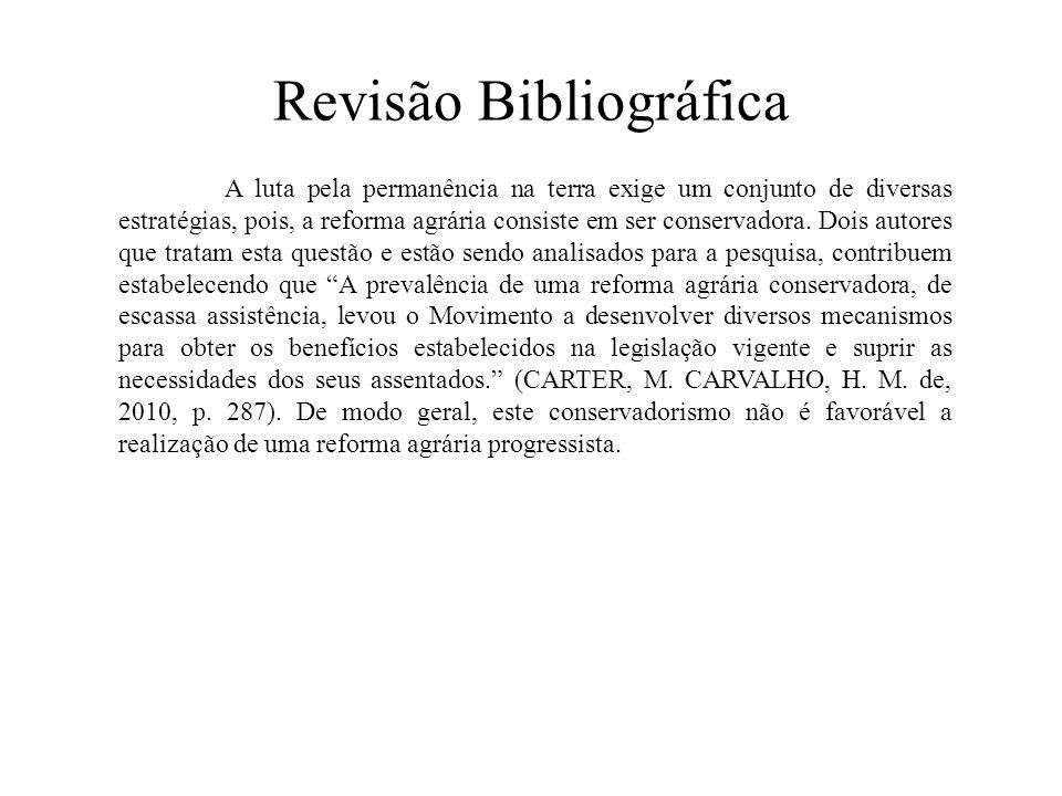 Revisão Bibliográfica A luta pela permanência na terra exige um conjunto de diversas estratégias, pois, a reforma agrária consiste em ser conservadora