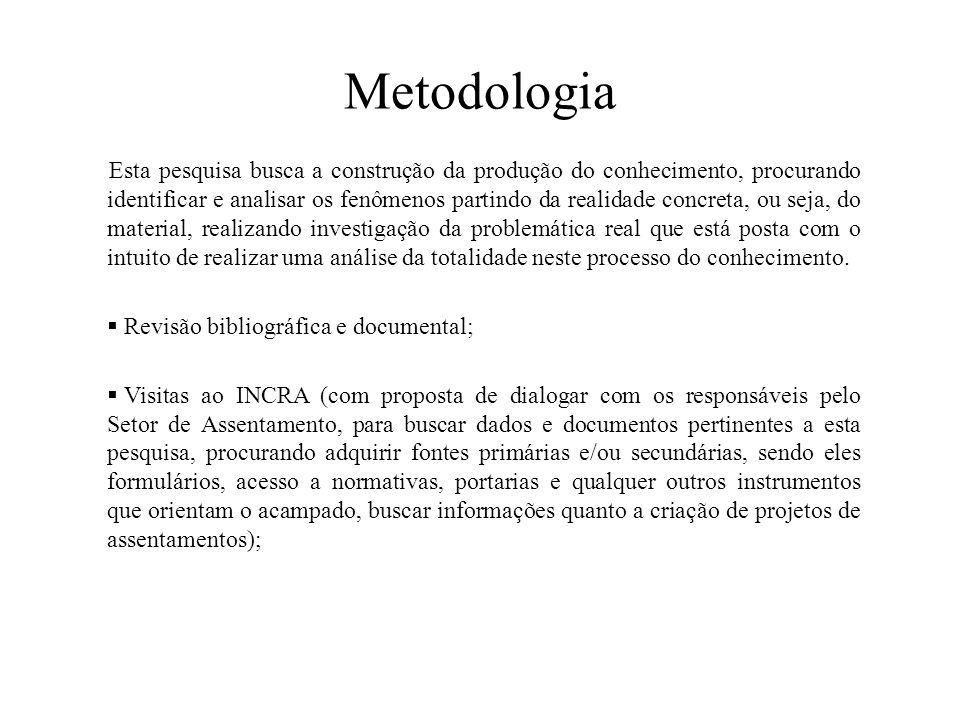 Metodologia Esta pesquisa busca a construção da produção do conhecimento, procurando identificar e analisar os fenômenos partindo da realidade concret