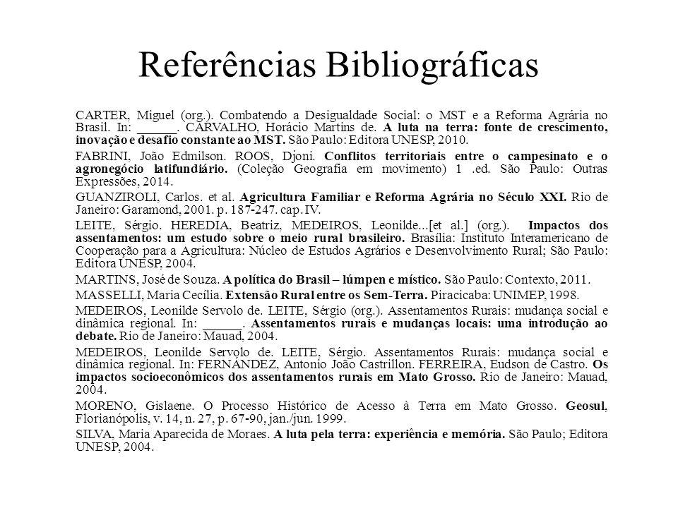 Referências Bibliográficas CARTER, Miguel (org.). Combatendo a Desigualdade Social: o MST e a Reforma Agrária no Brasil. In: ______. CARVALHO, Horácio