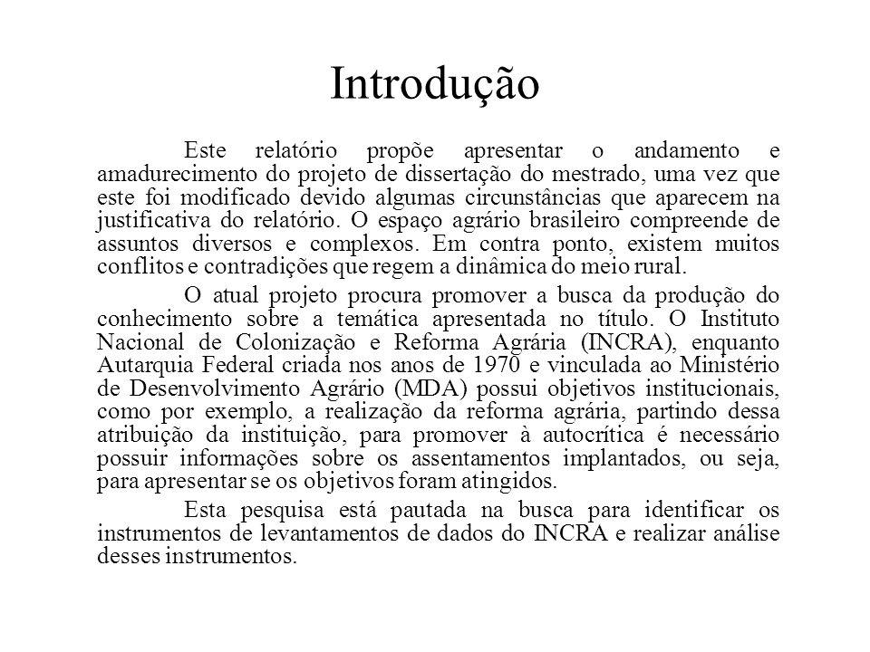 Introdução Este relatório propõe apresentar o andamento e amadurecimento do projeto de dissertação do mestrado, uma vez que este foi modificado devido