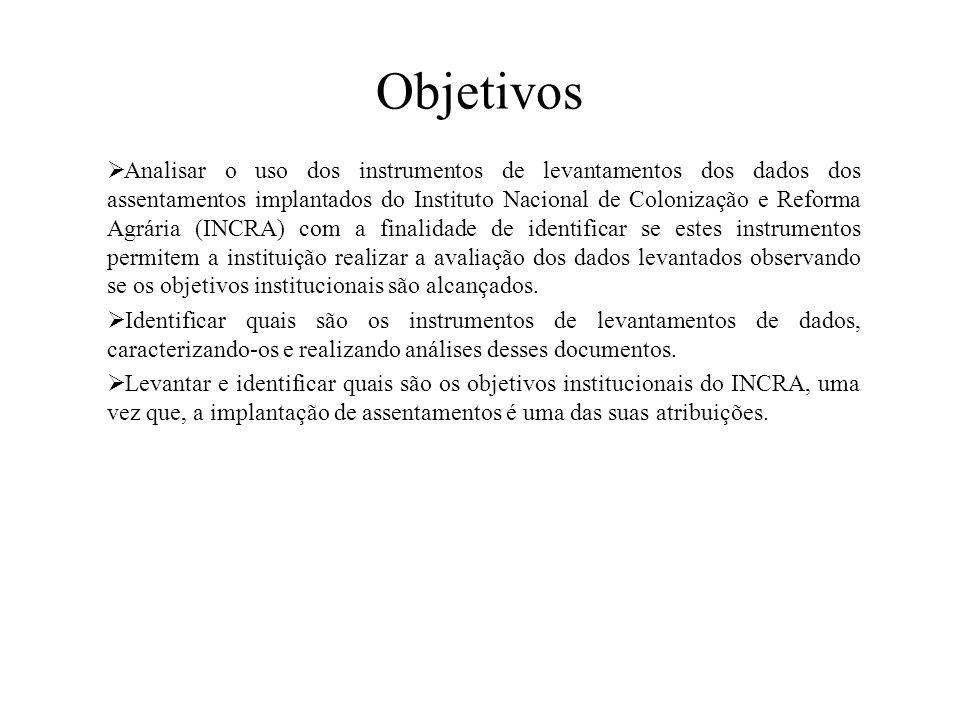 Objetivos  Analisar o uso dos instrumentos de levantamentos dos dados dos assentamentos implantados do Instituto Nacional de Colonização e Reforma Ag