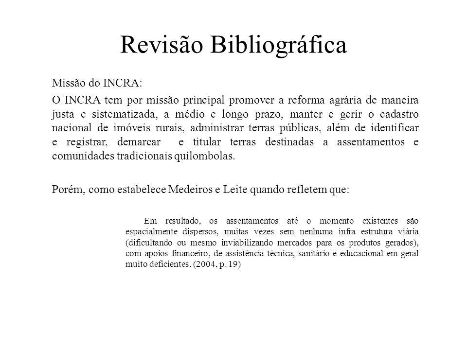 Revisão Bibliográfica Missão do INCRA: O INCRA tem por missão principal promover a reforma agrária de maneira justa e sistematizada, a médio e longo p