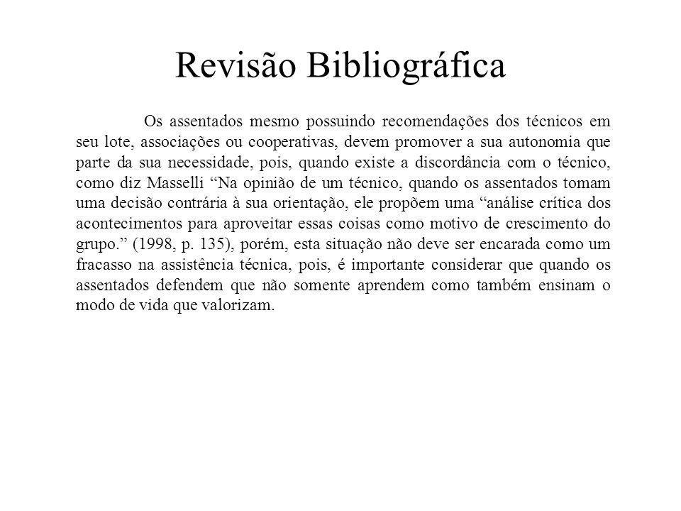 Revisão Bibliográfica Os assentados mesmo possuindo recomendações dos técnicos em seu lote, associações ou cooperativas, devem promover a sua autonomi